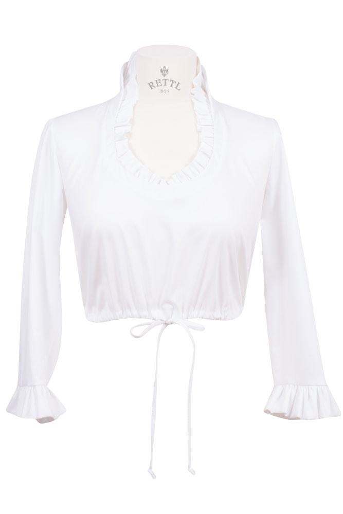 Rettl Damen Dirndl Bluse weiss stretch 3/4Arm vorne