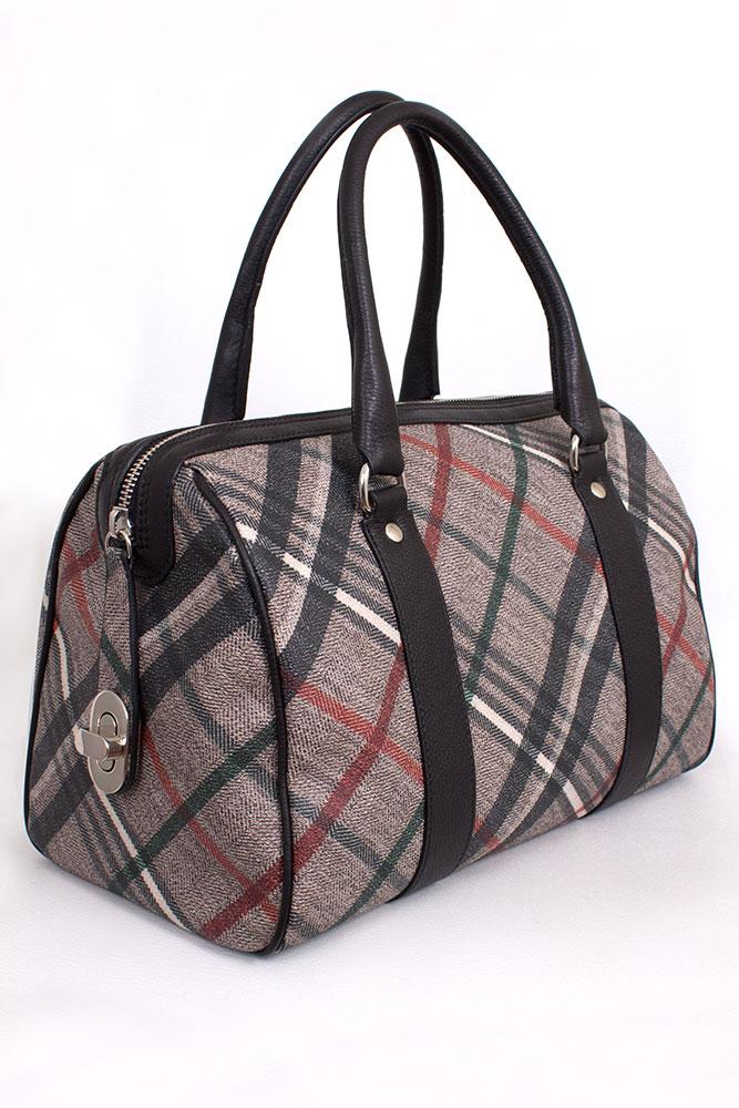 Tasche Bowling Bag in Leinen geprintet Rettl Housecheck