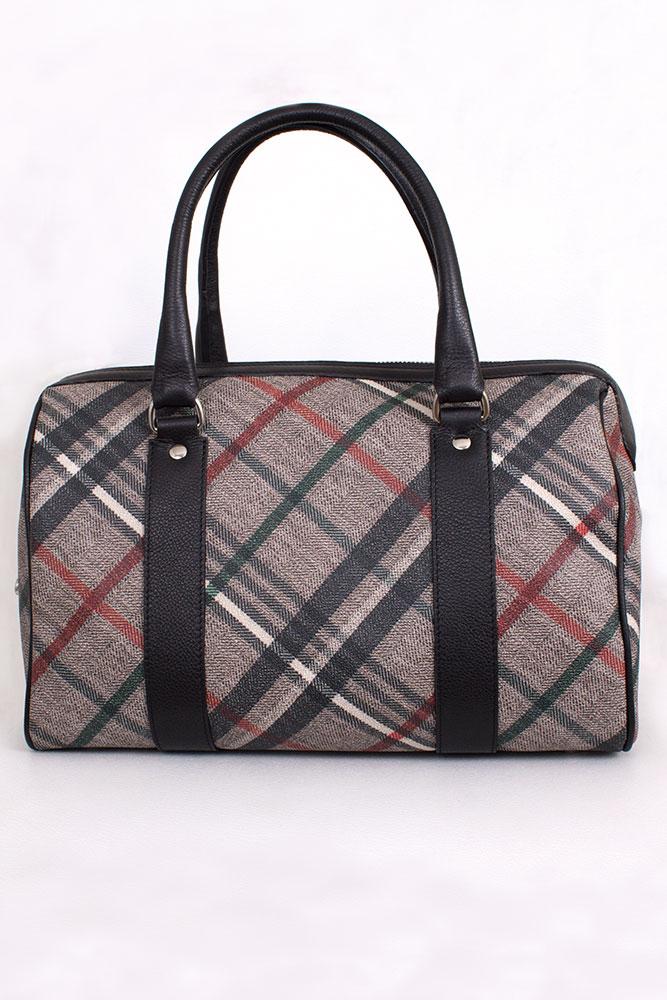 """Tasche """"Bowling Bag"""" in Leinen geprintet Rettl Housecheck"""