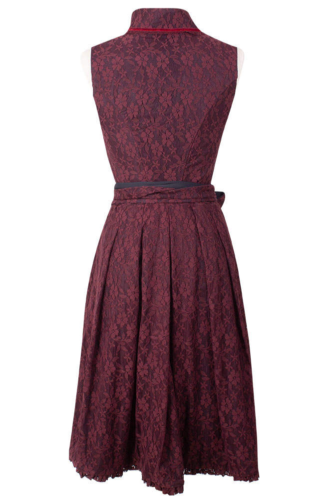 Rettl 1868 Dirndl in Stretchspitze Josef-Elise Evening Floral bordeaux