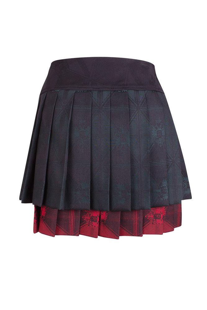 Rettl Damen Rock Mc Aidan Wolle Tricolore schwarz grün bordeaux back