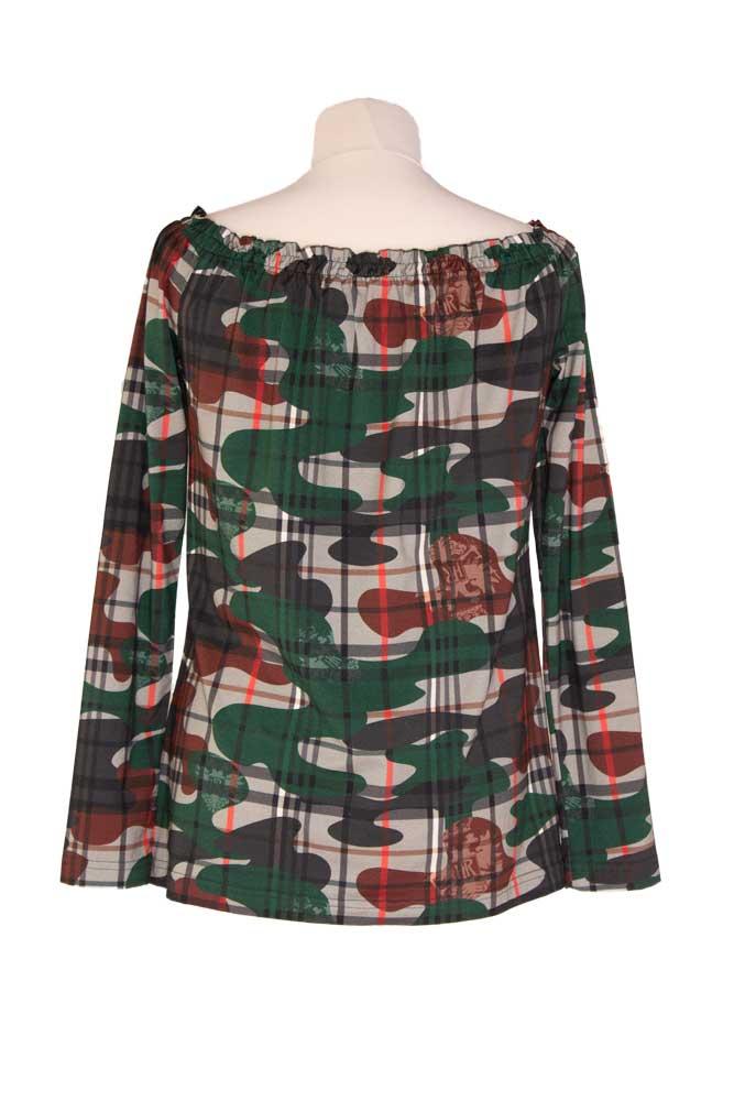 Rettl Damen Shirt Laposa, Karoflage grün back