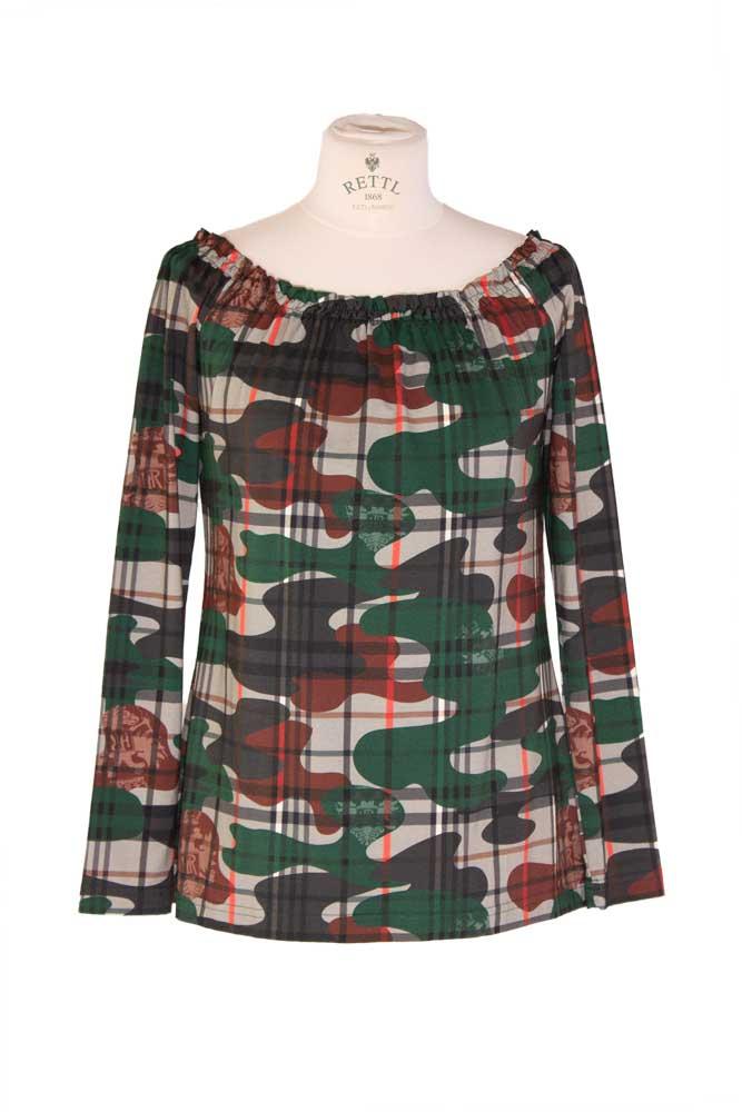Rettl Damen Shirt Laposa, Karoflage grün