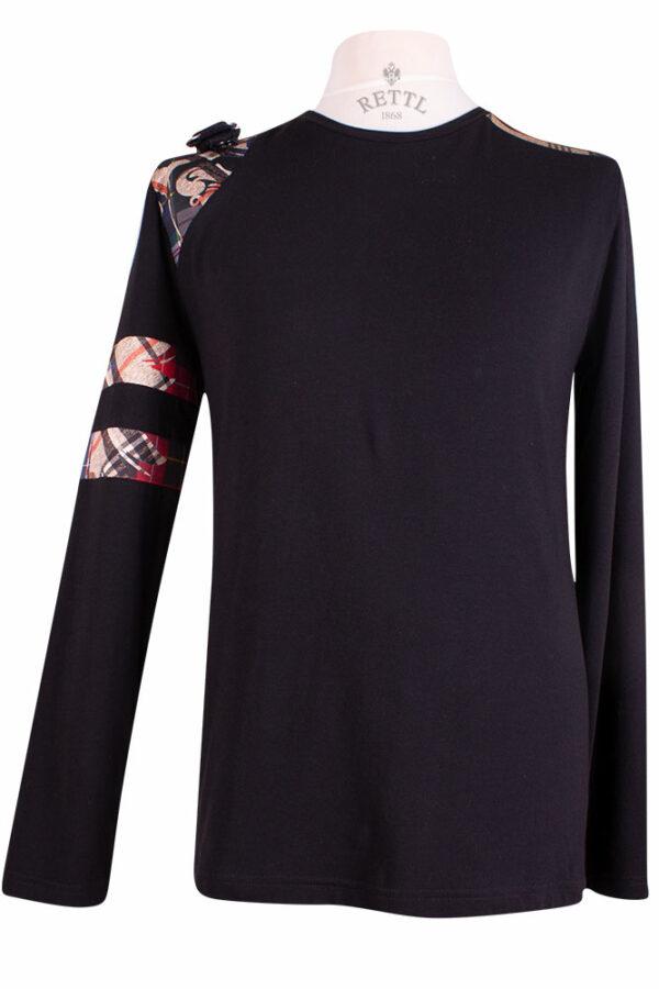 Rettl 1868 Herren Shirt Charly Jersey schwarz Kontrasten Jersey Fancy Adlerpatch
