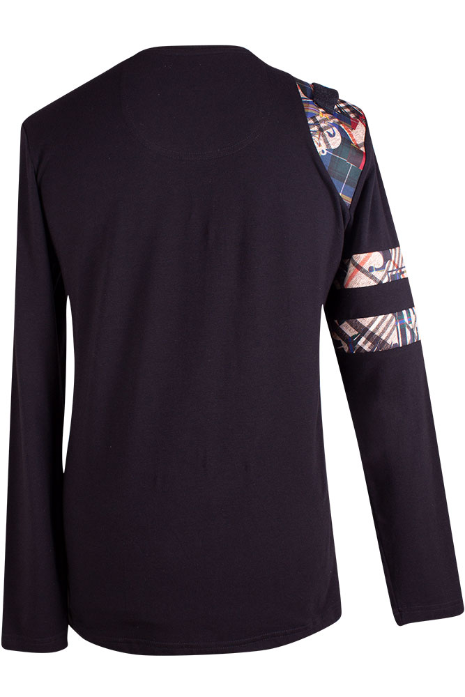 Rettl 1868 Herren Shirt Charly Jersey schwarz Kontrasten Jersey Fancy Adlerpatch back